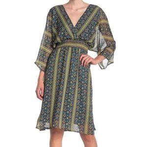 Dress Forum Women's Boho 3/4 Sleeve Smocked Dress